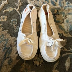 Roxy white canvas boat shoes